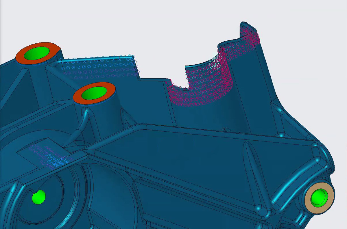 Resultatdarstellung im 3D CAD Modell in Creo